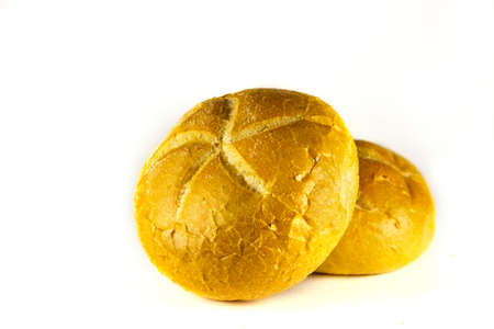 Buns on a white background. Close up. Fresh homemade bread on white background. Stok Fotoğraf
