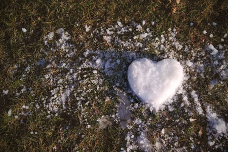 Snow heart on green grass, close-up, copy space. Season, design. Valentine's day. Banque d'images