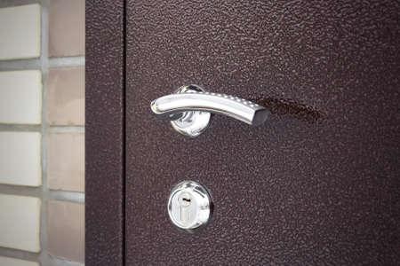 View of door lock system mechanism,a safety measure. Door Lock Home Security. Door handle, door lock. Security Measure. Imagens