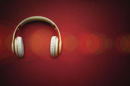 A top view of a white headphones. online music player app Standard-Bild