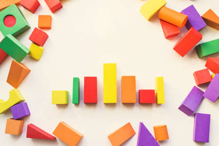 Children'S Designer From Blocks Of A Different Form. Construction, childrens designer, blocks, cubes for children on white background, close-up, house, childrens play, childrens toy
