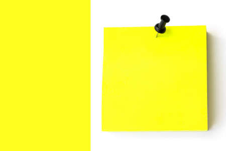 Empty Yellow sticky note. With Black Pin on White Yellow Background. Blank yellow sticky note
