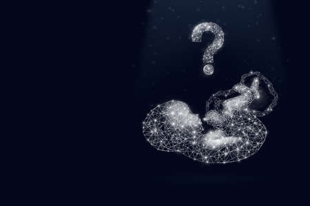 Fetus hologram with question mark on dark blue background. Pregnancy planning. Who should the boy or the girl will be born. Artificial insemination.