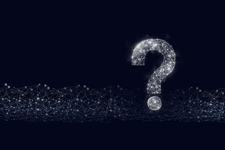 Question mark hologram on cyber dark blue background