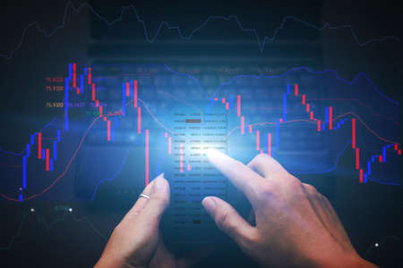 Using a mobile phone for checking stock market data. Key performance indicators background. Mobile Banking In Smartphone Banque d'images