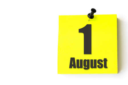 August 1st. Day 1 of month, Calendar date. Yellow sheet of the calendar. Summer month, day of the year concept