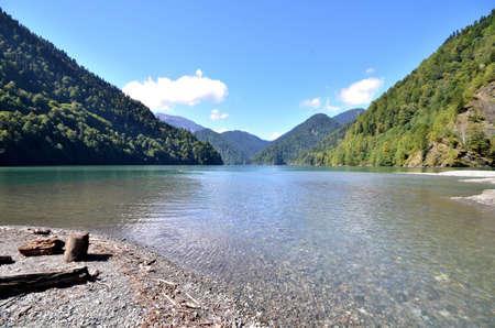 abkhazia: View of the mountain lake Rizza, Abkhazia