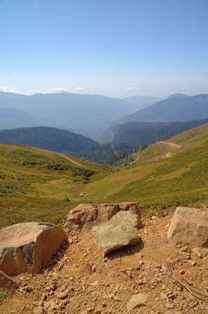 Вид на горные хребты Абхазии, Сочи, Россия