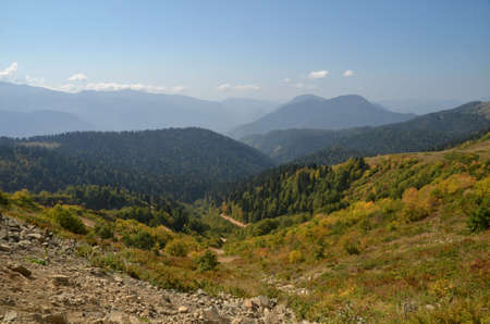 View of the mountain ranges of Abkhazia, Sochi, Russia Фото со стока - 53545884