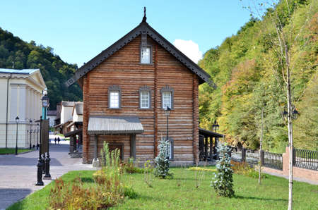 CULTURAL - ETHNOGRAPHIC CENTER MY RUSSIA, ROSE FARM, SOCHI RUSSIA OCTOBER 2015: View of the building symbolizes the Russian north, Krasnaya Polyana, Sochi, Russia.