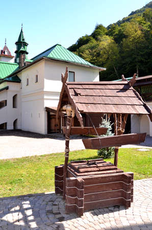 ethnographic: CULTURAL - ETHNOGRAPHIC CENTER MY RUSSIA, ROSE FARM, SOCHI RUSSIA OCTOBER 2015 View of the building symbolizes the Central Russia, Krasnaya Polyana, Sochi, Russia. Editorial