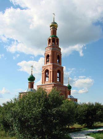 Bell tower in Achair monastery, Omsk region, Siberia, Russia Фото со стока - 101747609