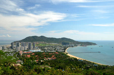 China Hainan island, city of Sanya, aerial view on man-made island in the form Фото со стока - 104909267
