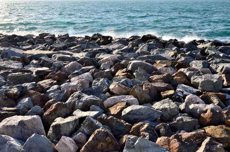Stones artificial skeleton Palma Dubaii, Arabian Gulf United Arab Emirates
