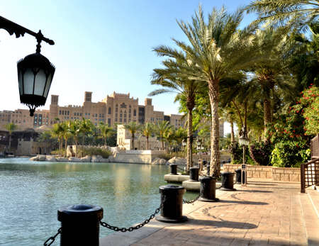 Street lamp on a background of park Dubai, United Arab Emirates Фото со стока