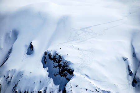 Downhill skiing on the glacier, Switzerland.