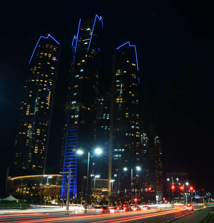 Night view of the skyscrapers in Abu Dhabi, United Arab Emirates Фото со стока