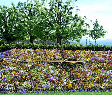 Flower Clock in Geneva, Switzerland