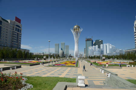 Water Green Boulevard in Astana. Kazakhstan Редакционное