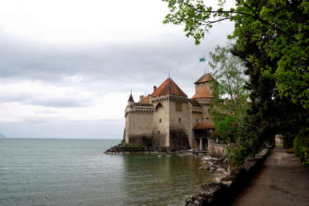 The Chillon castle in Montreux. Geneva lake, Switzerland, april 2012
