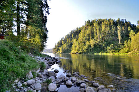 View of the Biya river. Russia, Altai Republic Reklamní fotografie - 111740411