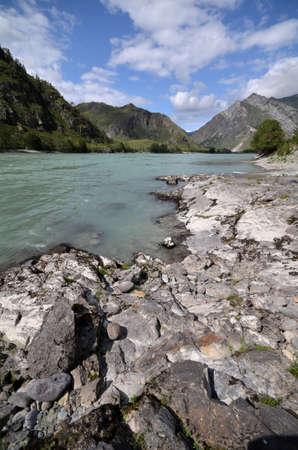 View of the Katun river. Russia, Altai Republic Reklamní fotografie - 111740516