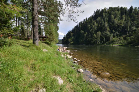 View of the Biya river. Russia, Altai Republic Reklamní fotografie - 111740554