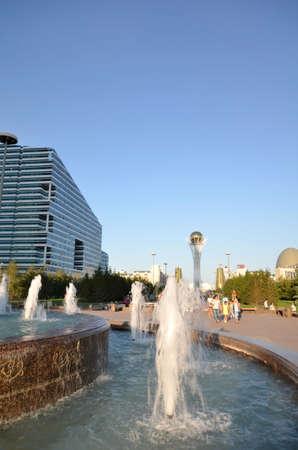 WATER-GREEN BOULEVARD, ASTANA, KAZAKHSTAN JULY, 2015: View of the water green Boulevard. Редакционное