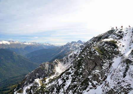 View of the ridge Achishkho, Krasnaya Polyana, Sochi, Russia Фото со стока