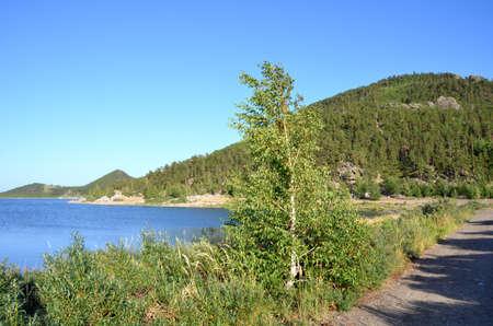 Lake Chebache, State National Natural Park Burabai, Kazakhstan Фото со стока