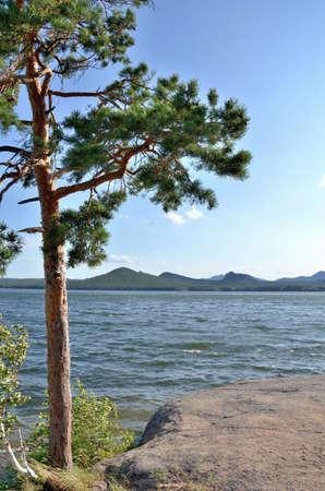 Lake Borovoe, State National Natural Park Burabai, Kazakhstan Фото со стока
