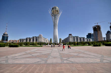 WATER-GREEN BOULEVARD, ASTANA, KAZAKHSTAN JULY, 2015: View of the monument Bayterek, symbol of Kazakhstan Redakční