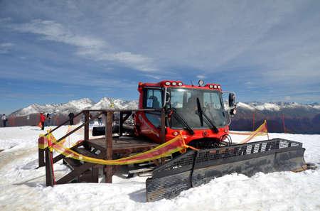 Snowcat on top of Rosa Plateau, Krasnaya Polyana, Sochi, Russia