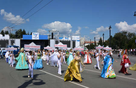 Omsk, Russia - August 6, 2016: Parade of labor and creative teams dedicated to 300 anniversary of the city of Omsk 報道画像