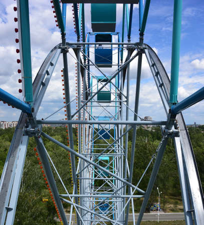 The view from the ferris wheel at the park and the city of Omsk