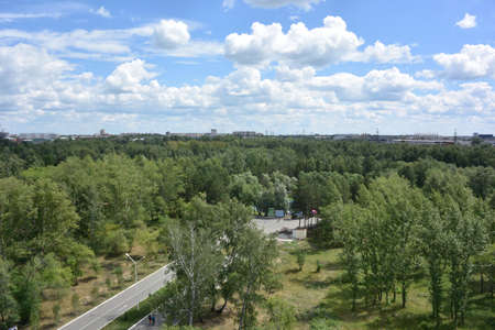 View of the culture and leisure park named after 30 Komsomol in the city of Omsk from the Ferris wheel Imagens