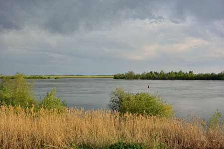 Most of the water on the Irtysh river, Omsk region, Siberia, Russia