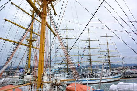 SOCHI, RUSSIA SEPTEMBER 22, 2016: On board a sailing boat participating in the Black Sea regatta