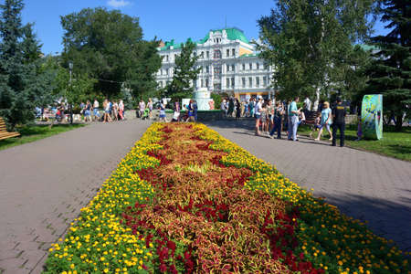 Omsk, Russia - August 6, 2016: Flower exhibition Flora 65 in the Resurrection of the city park in the city of Omsk day Редакционное