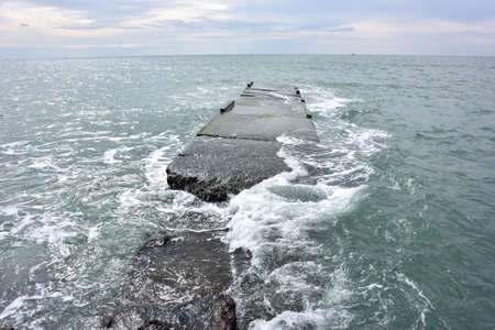 View of the breakwater in the Sochi, Russia Фото со стока
