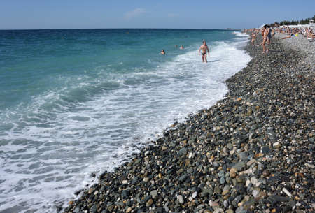 View of the beach in the Sochi, Russia Редакционное