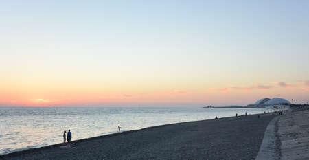 SOCHI, RUSSIA OCTOBER 1, 2016: View of the evening beach in the Sochi, Russia