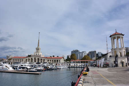 SOCHI, RUSSIA SEPTEMBER 29, 2016:Sea port of Sochi in the september day.