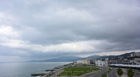 SOCHI, RUSSIA OCTOBER 6, 2016: View of the town of Adler. Sochi, Russia Редакционное