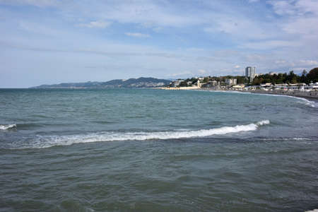 SOCHI, RUSSIA SEPTEMBER 29, 2015: View of the beach in the Sochi, Russia Редакционное