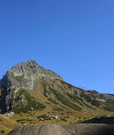 KRASNAYA POLYANA, SOCHI, RUSSIA, OCTOBER 7, 2016: Climb to the top of the Black Pyramid, Sochi, Russia Редакционное