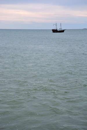SOCHI, RUSSIA SEPTEMBER 29, 2016: View of a sailboat in the Black Sea Sochi, Russia Редакционное