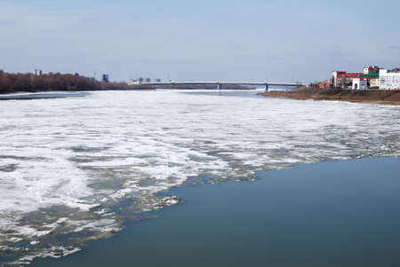Irtysh River in early spring, the city of Omsk, Siberia, Russia