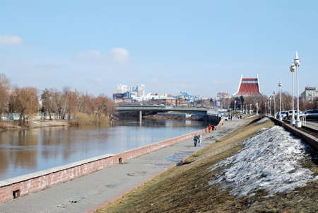 Om River in early spring, the city of Omsk, Siberia, Russia 写真素材