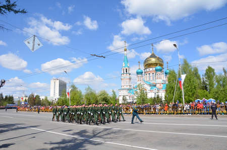 Omsk, Russia - May 9: Military parade of dedicated to Victory Day, the city of Omsk, Siberia, Russia 9 May 2016